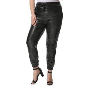 Plus Size Flattering Leather Jogger Pants